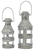 Kleine Laterne Windlicht Metall weiss zink Loft Garten Terrasse