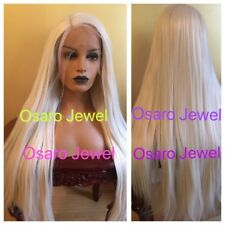 Celebrity white platinum  blonde straight hair. lace front wig.human Hair Blend