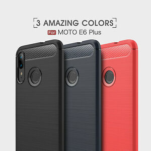 For Motorola Moto E6 Plus Shockproof Carbon Fiber Slim Rubber Phone Case