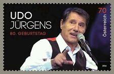 ♣ ganzer Bogen Udo Jürgens Briefmarke 80 er Geburtstag SM 2014 Österreich 70 ♥