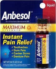 NEW! Anbesol Maximum Strength Oral Anesthetic Liquid 0.41 Fl Oz.