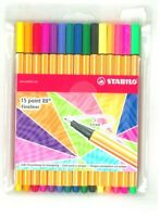 STABILO, CONFEZIONE 15 FINELINER POINT 88 COLORI ASSORTITI, Siz.F 0,4mm.