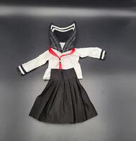 """1/6 Female School Uniform Black Pleated Skirt Clothes Suit For 12""""Action Figure"""