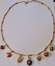 JOAN RIVERS RHINESTONE & COLORFUL ENAMEL 7 HEART CHARMS NECKLACE