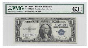 1935C $1 SILVER CERTIFICATE, PMG CHOICE UNCIRCULATED 63 EPQ BANKNOTE, E/E BLOCK