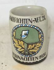 alter Andenkenkrug WW1 Nachrichten Abt. 21 Weihnachten 1920 Stahlhelm