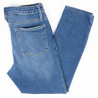 Athleta Sculptek Straight Leg High Rise Womens Jeans Faded Medium Wash Size 10