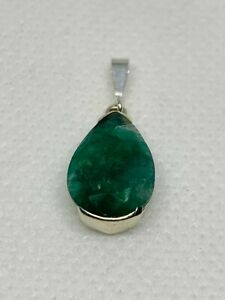 Gorgeous Real Natural Emerald Stone Pendant 925 Solid Sterling Silver #11098