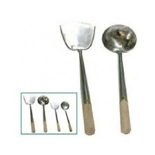 Stainless Steel Wok Spatula Ladle Set Chinese Cooking Commercial Wooden Handle