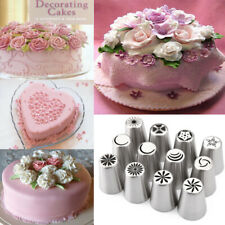 12pcs Russian Tulip Icing Piping Nozzles Cake Crafts Decoration Decor Tips Tool