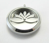 Stainless Steel Water Lily Flower Aromatherapy Diffuser Locket Pendant Necklace
