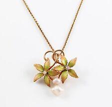 10k Gold Art Nouveau Enamel Pearl & Diamond Floral Motif Pendant Drop Necklace