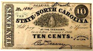 Civil War Confederate State of North Carolina 10 Cent Note 1863