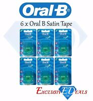 6 Pack x Oral B Satin Tape Dental Floss - Mint Flavour - Genuine Oral B Products