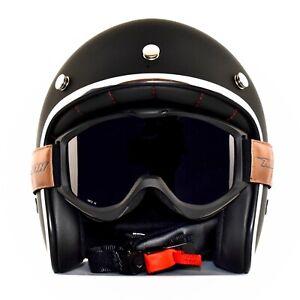 casco jet moto vintage nero opaco omologato nuovo+occhiale
