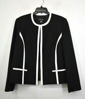 Black Label Evan Picone Women Black Contrast Piping Open Front Blazer Jacket 16