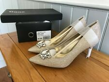 """DUNE """"BELLES"""" GOLD FABRIC JEWEL TRIM POINTED SHOES SIZE 6 (39) BRAND NEW IN BOX"""