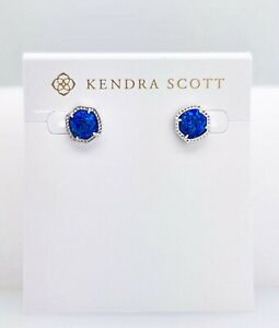 NEW  KENDRA SCOTT Women 482 Rhodium Davie Royal Blue Opal  Stud Earrings