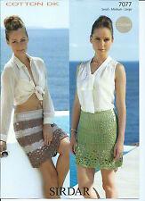 Ladies Skirts in Sirdar Cotton DK Yarn, Crochet Pattern 7077