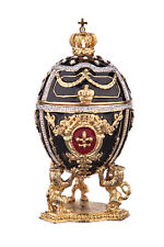 Decorative Faberge Egg Trinket Jewel Box Russian Emperor's Crown 3'' 7.5cm black