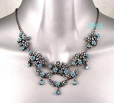 Debenhams Vintage Deco Blue Nouveau Flower Buds Necklace W/ Swarovski Crystals