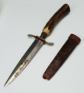 ANTIQUE 19th C. CIVIL WAR ERA DAGGER / FIGTING KNIFE w/ STAG HANDLE