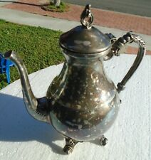 Coffee Tea Pot 4 Footed 9 ½� Tall Decorative Silver Plate Vintage