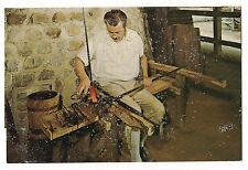 MASTER GLASSBLOWER with Tools & Chair Jamestown VA Postcard Virginia KOPPEL