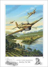 Affiche Les Tigres Volants David Lee Numérotée Signée Flying Tigers Squadron