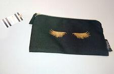 GORGEOUS LASHES Gold Metallic BLACK CANVAS PENCIL CASE Single Pocket Metal Zip