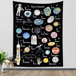 Space Alphabet Tapestry Abstract Planets Wall Hanging Home Decor Bedspread Cover