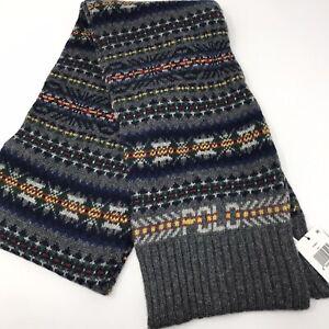 Polo Ralph Lauren Fair Isle Knit Intarsia Mens Scarf Gray