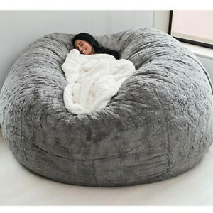 7ft Fluffy Fur Giant Sofa Bed Cover Slipcover Soft Bean Bag Seat Relax Lounge