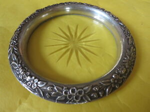 """1920s KIRK & Son 4"""" FLORAL REPOUSSE STERLING SILVER & CUT CRYSTAL '24' COASTER"""
