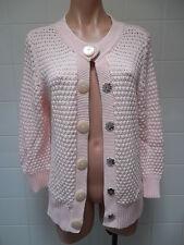 Tommy Hilfiger Petite L Women's Bulky Popcorn Stitch Knit Cardigan Sweater Pink