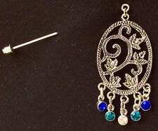 Silver Vine Design With Blue Green Stones Brooch Stick Pin Hijaab Pin Scarf Pin