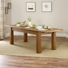 Rustic Oak Large Extending Dining Table - Long Rectangle 8 to 10 Seater - RS17