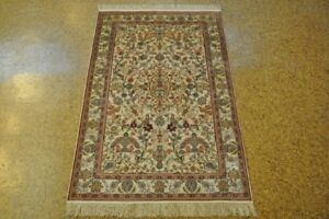 Silk Silk Carpets Area Rug 3x5 Large Rugs Ivory - Off-White Handmade