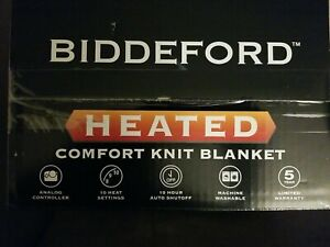 Biddeford Comfort Knit Fleece Heated Electric Blanket, Twin, Gray. Brand New!!