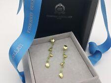 New Federico Buccellati Sterling Silver Peridot Leaf Chain Link Golden Earrings