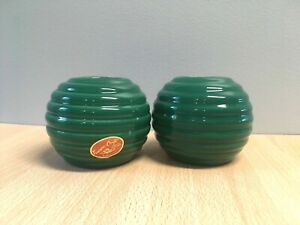 Vintage Set 2 Treasure Craft Color Story Ribbed Round Green Vases USA w/sticker