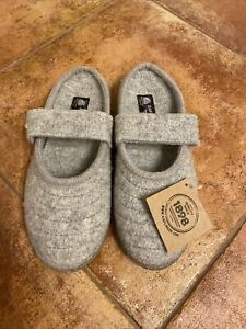 Haflinger Mary Jane Boiled Wool Womens Slippers Size EU 38 Silver Gray US 7 New