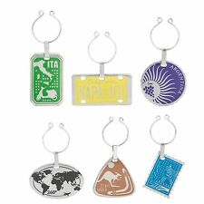 Trudeau International Metal Wine Glass Charms / Drink Markers - Set of 6