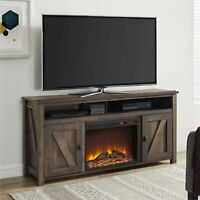"Electric Fireplace TV Console for TVs up to 60"" Entertainment Stand Decor Rustic"