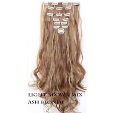 100% Real Natural  Clip in Hair Extensions 8 Pieces Full Head Long As Human Hair