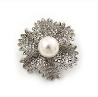 Vintage Style Bridal Wedding Bouquet Shiny Flower Diamante Brooch Pin BR223