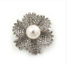Vintage Style Bridal Wedding Bouquet Shiny Flower Diamante Brooch Pin BR223