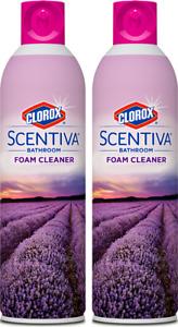 (2 Pack) Clorox Scentiva Bathroom Foam Cleaner 20oz, Tuscan Lavender & Jasmine