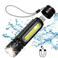 50000LM T6 COB LED Flashlight Rechargeable Zoomable Torch Side Work Light