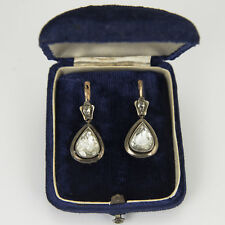 Vintage Rose Cut Pear Shape Diamond Earring